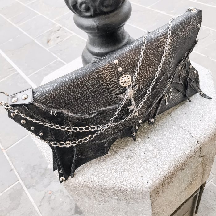 unique handmade leather clutch antracit edgy evileve