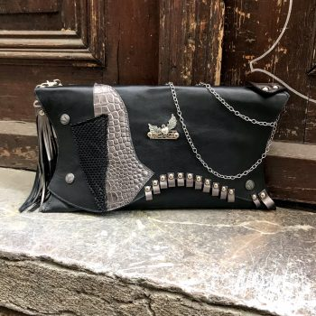 unique handmade leather clutch black classic evileve