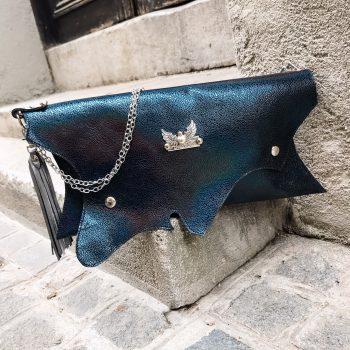 unique handmade leather clutch blue passion evileve