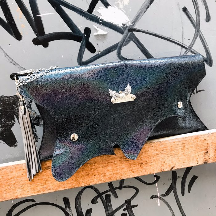 unique handmade leather clutch blue passion evileve