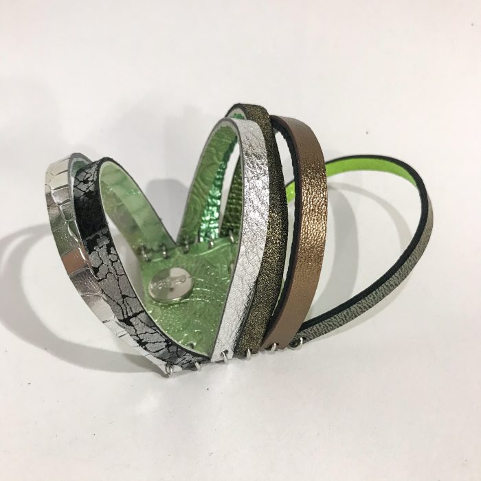 unique handmade leather double face reversible bracelet chic green evileve