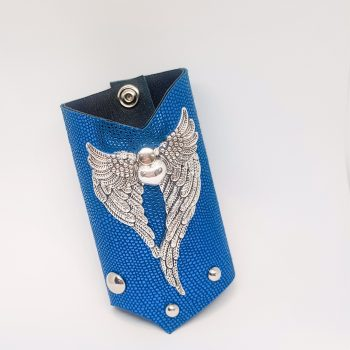unique leather bracelet SilverDreams Blue EvilEve