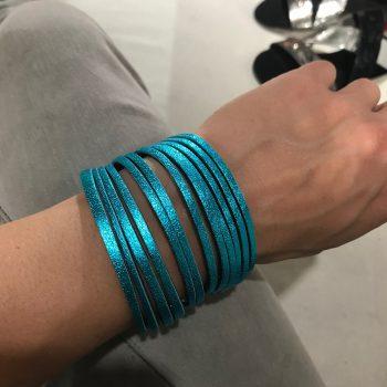 unique handmade leather double face bracelet Fringe Azur Silver EvilEve
