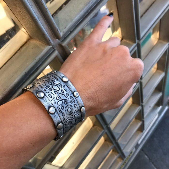 unique handmade leather bracelet Dusty EvilEve