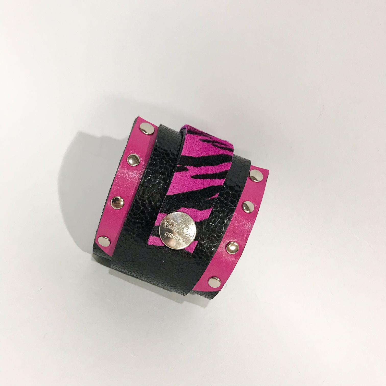 Pink Fashion wrap around leather bracelet EvilEve