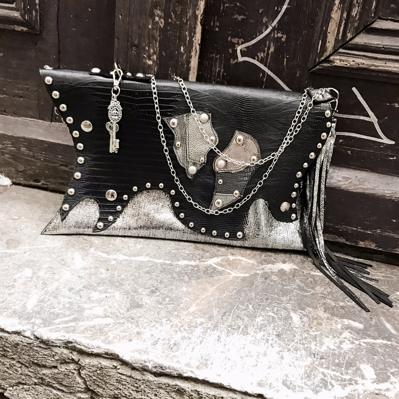 unique handmade leather clutch bag Sugar Silver Evileve