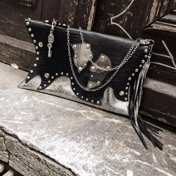 unique handmade leather clutch bag Sugar Silver Evileve