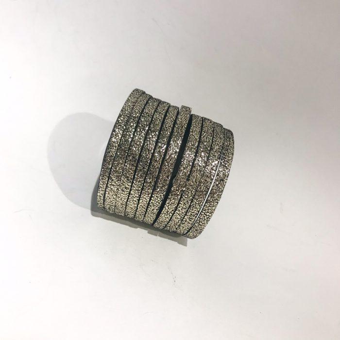 unique handmade leather double face bracelet Fringe Pink Silver EvilEve