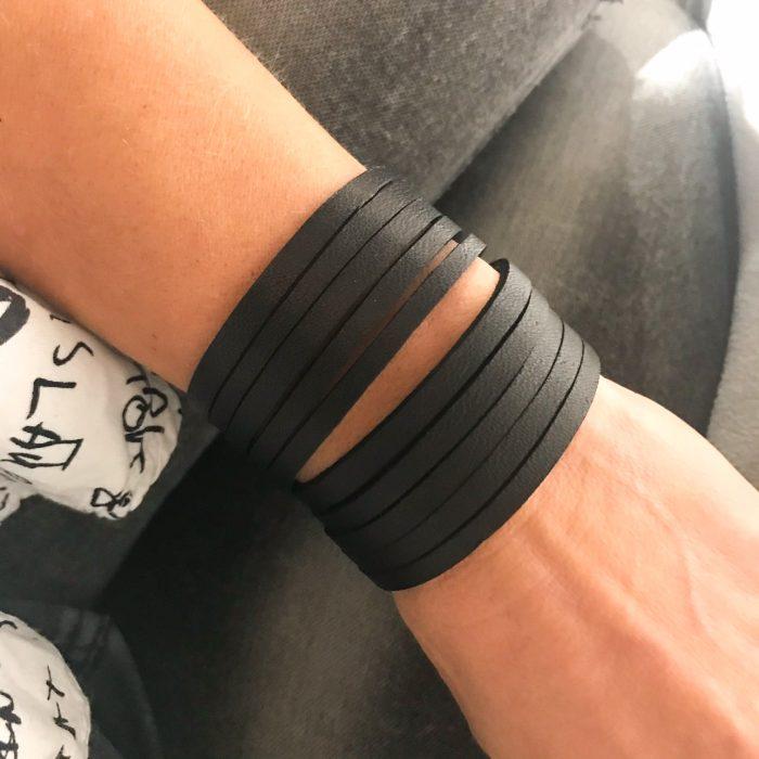 unique handmade leather bracelet Fringe Glitter EvilEve