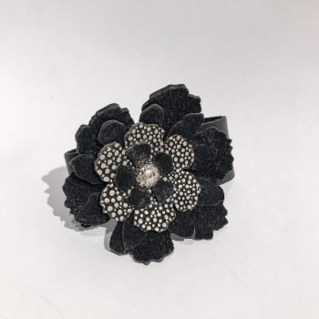 unique handmade leather bracelet Rose Black EvilEve