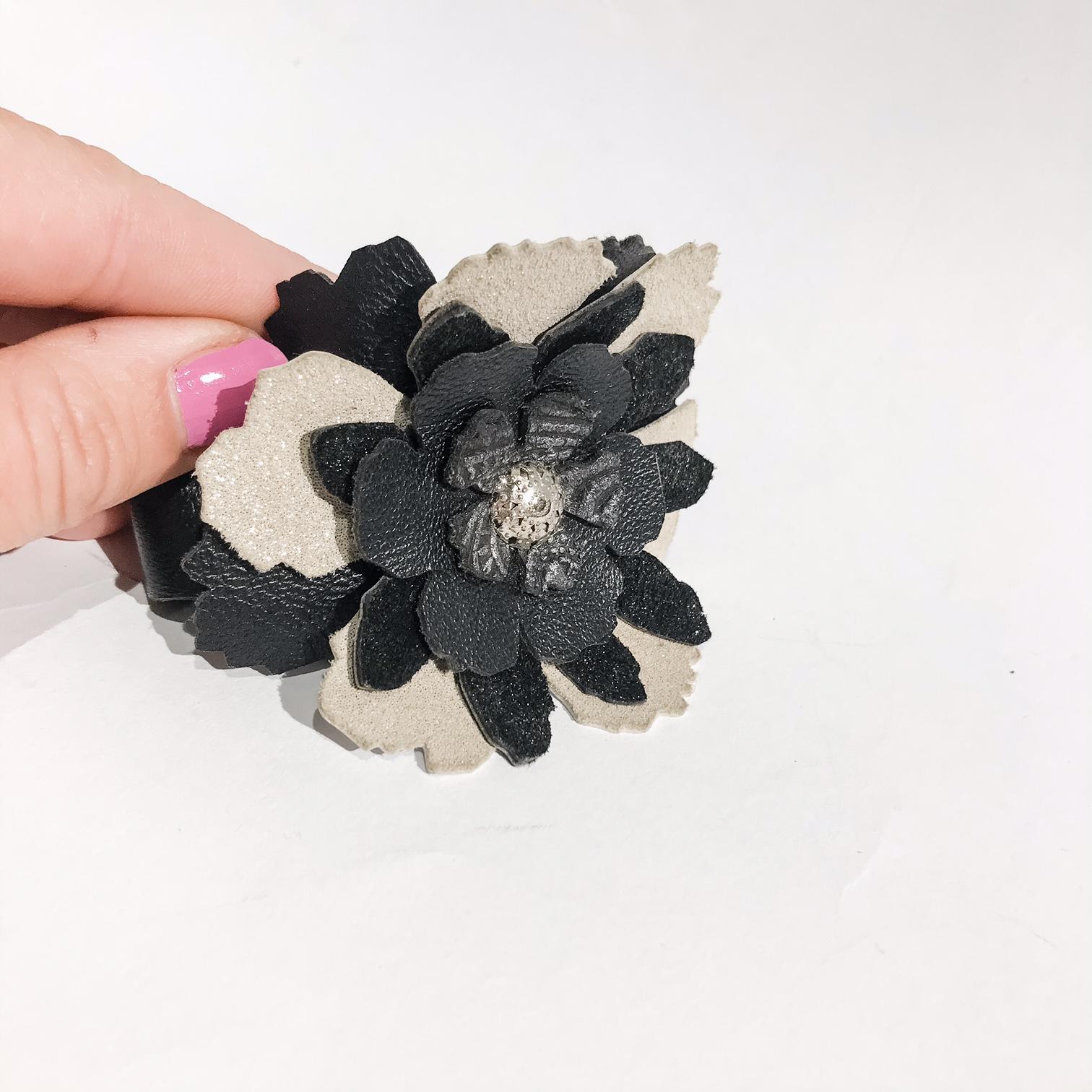 unique handmade leather bracelet Rose Beige EvilEve