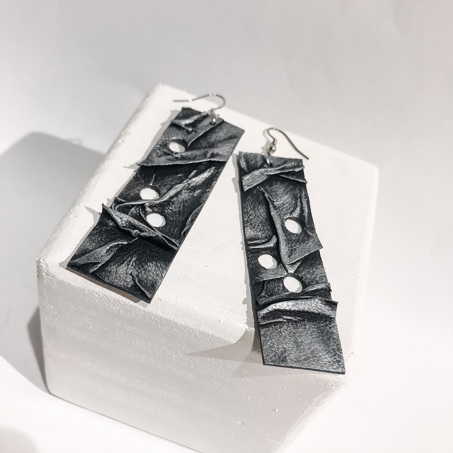 Rockstar leather and stainless steel earrings EvilEve
