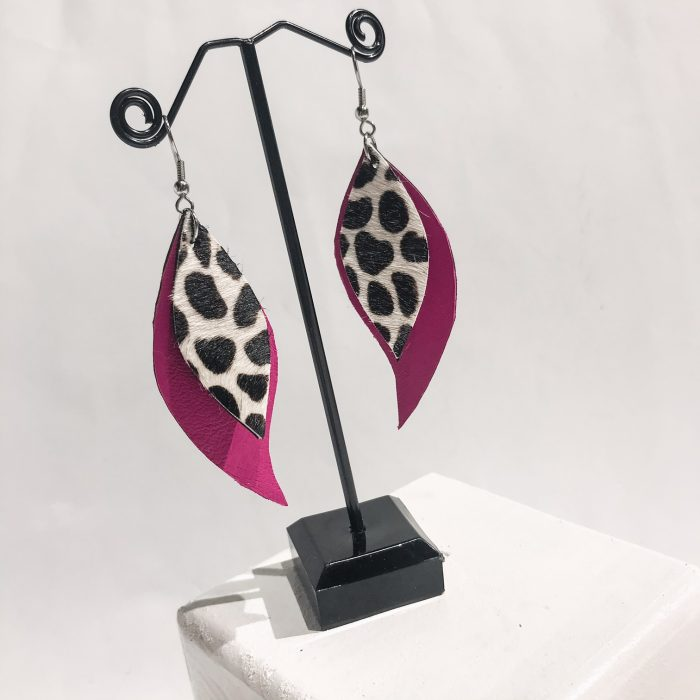 Pink Cavallino leaves earrings EvilEve