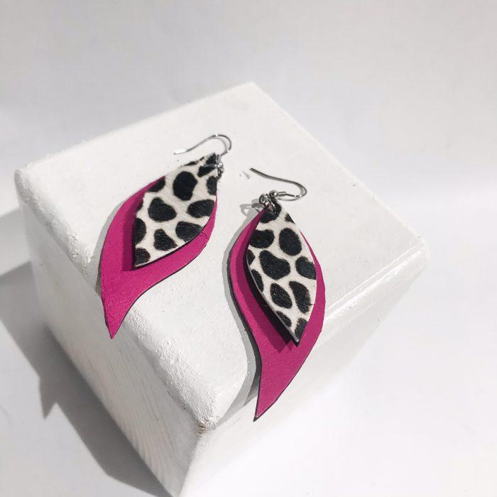 Pink Cavallino leaves earrings EvilEve