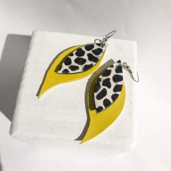 Yellow Cavallino leaves earrings EvilEve
