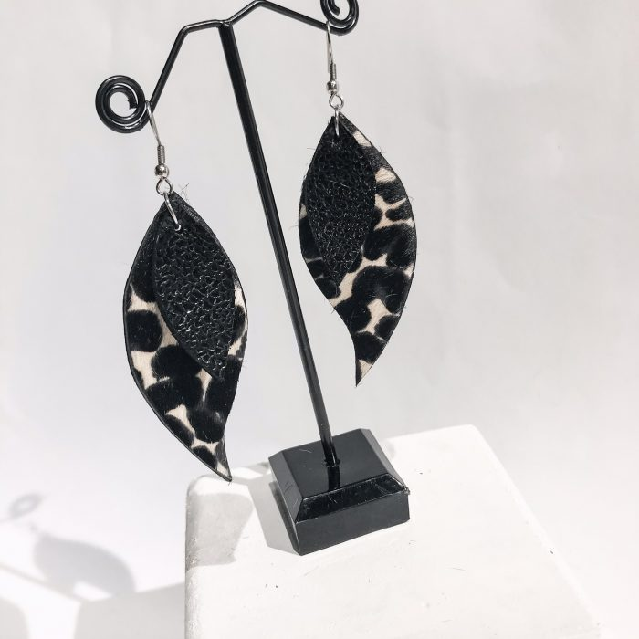 Unique handmade leather earrings Vega leaves EvilEve