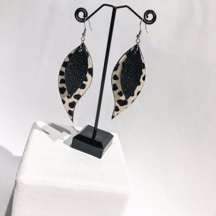 Unique handmade leather earrings Starlight leaves EvilEve