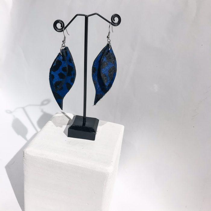 Blue Tiger Cavallino leaves earrings EvilEve