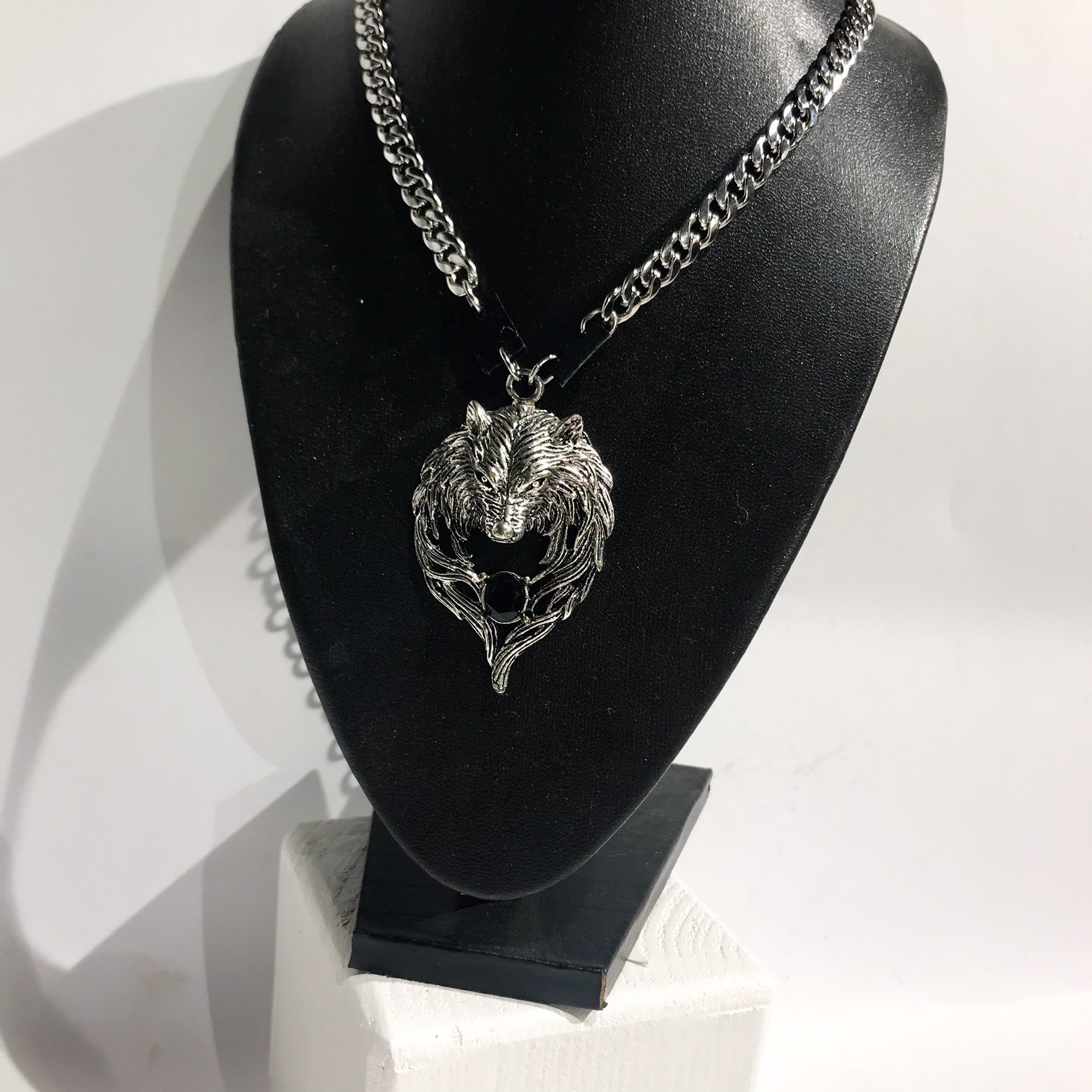 Lion unisex leather and stainless steel necklace EvilEve