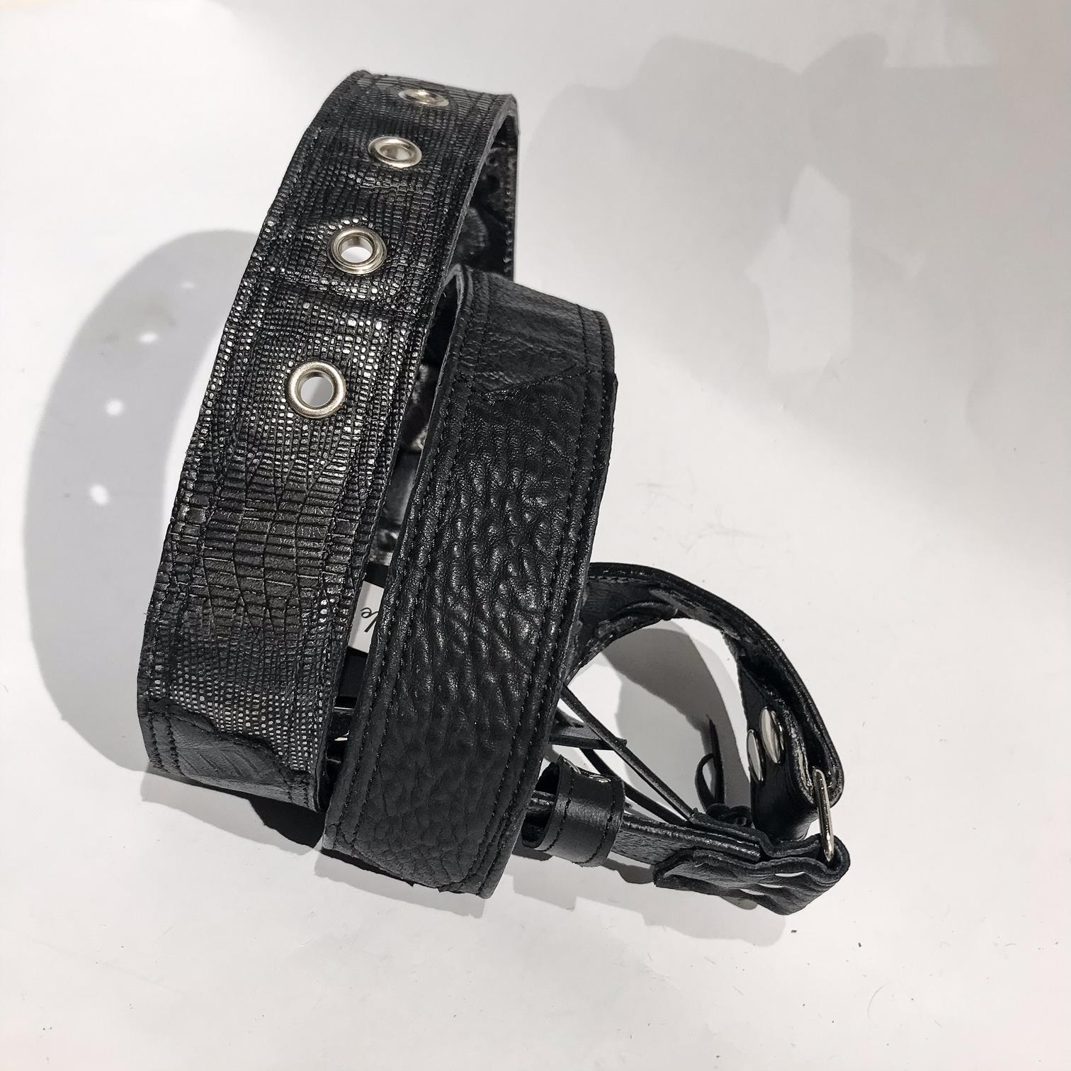 Double Face Leather belt Black Rocket EvilEve