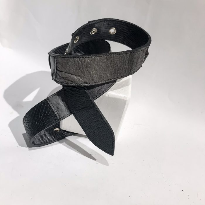 Double Face Leather belt Gray