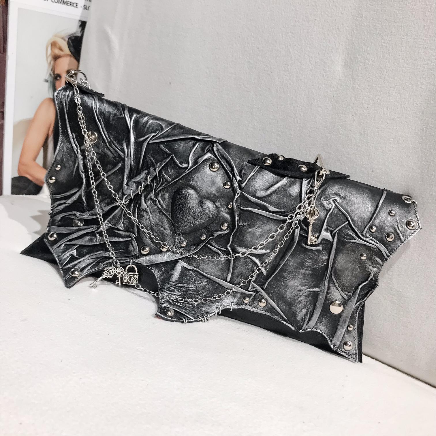 unique handmade leather clutch BlackHeart 3 EvilEve