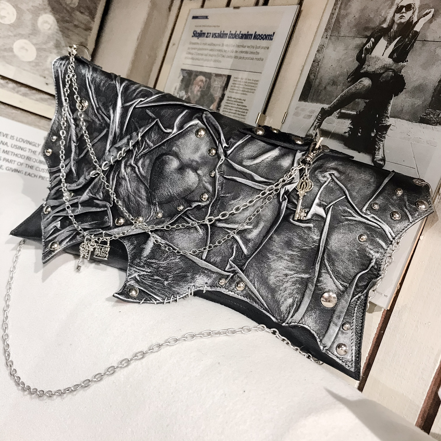 unique handmade leather clutch BlackHeart 3 EvilEve