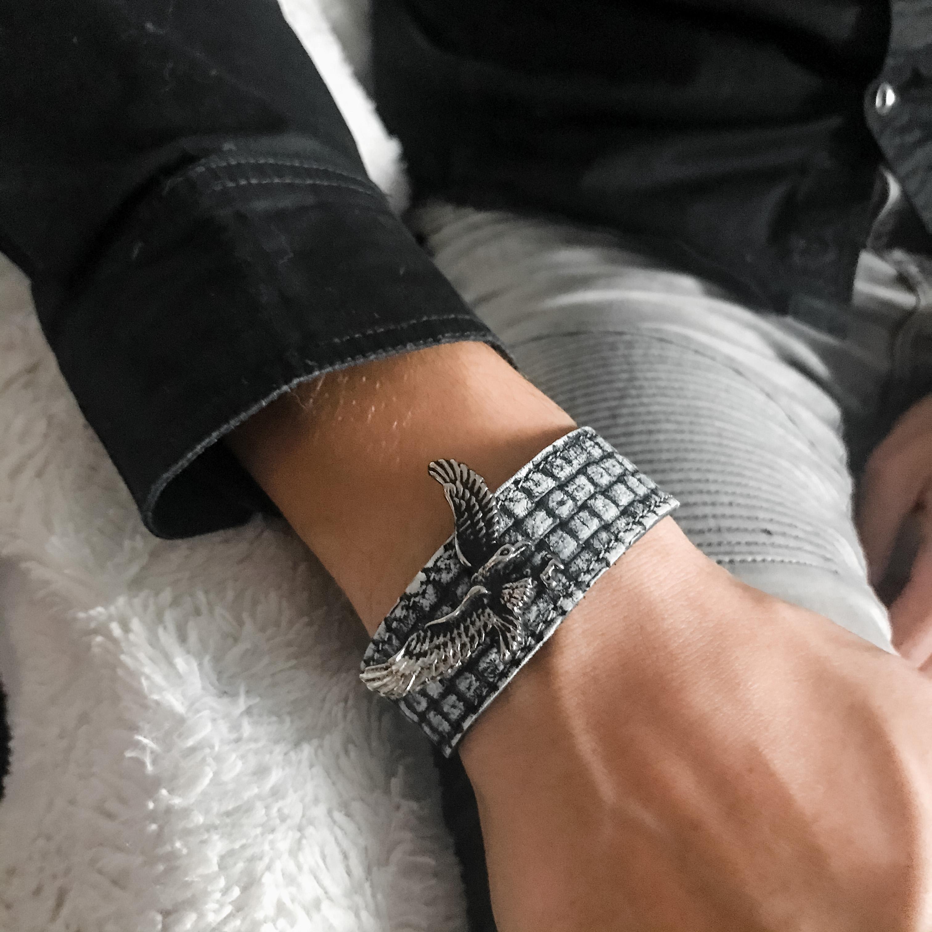 Stage Eagle Unisex leather bracelet EvilEve