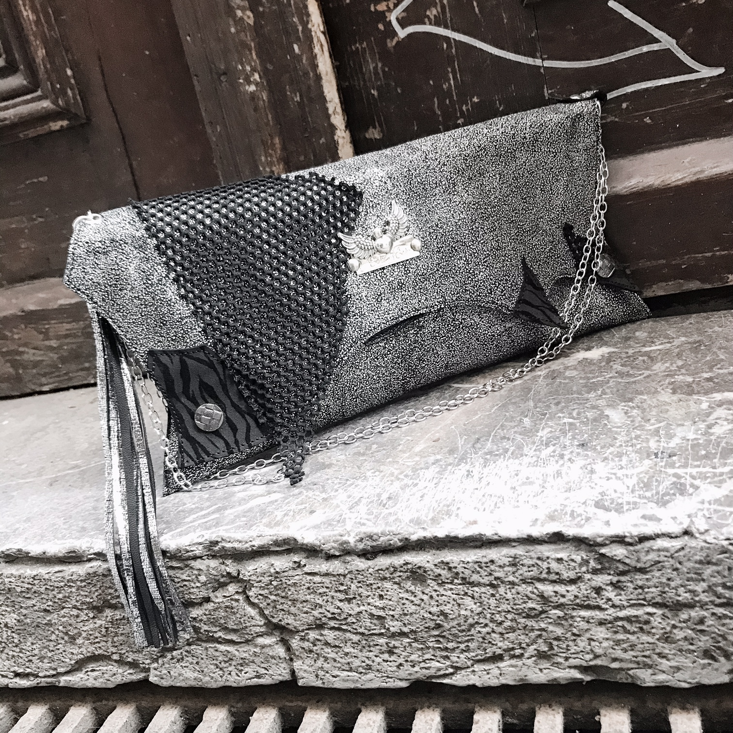 unique handmade leather clutch Stone EvilEve