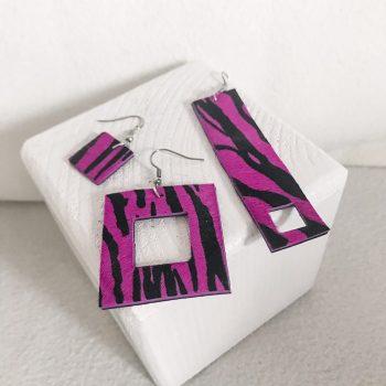 Threesome Pink drop earrings set EvilEve