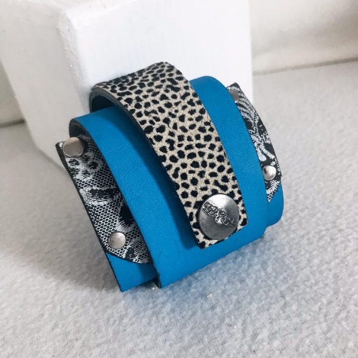 unique handmade leather wrap around bracelet Blue Love EvilEve
