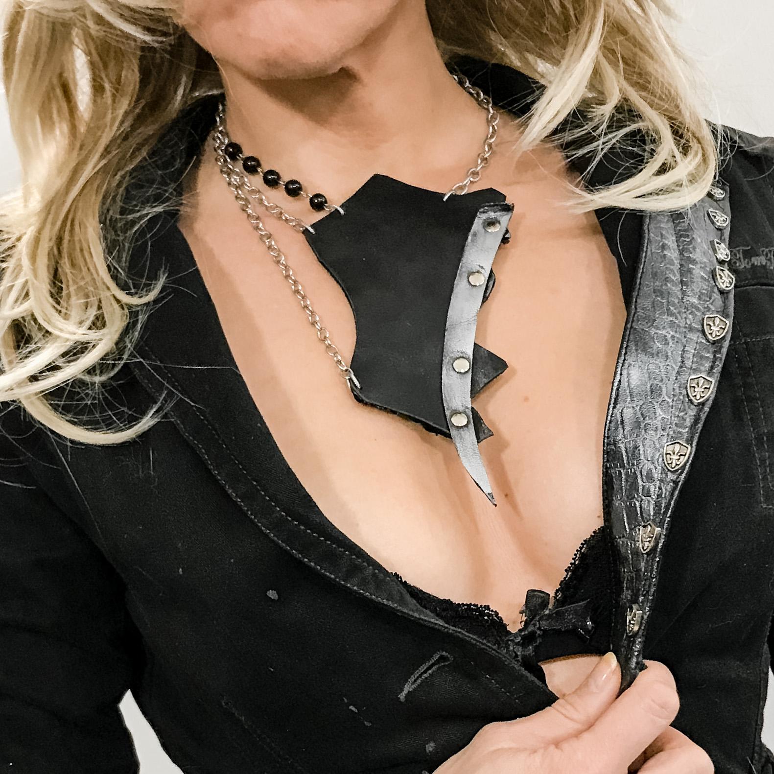 unique handmade leather necklace Double Face Titan EvilEve