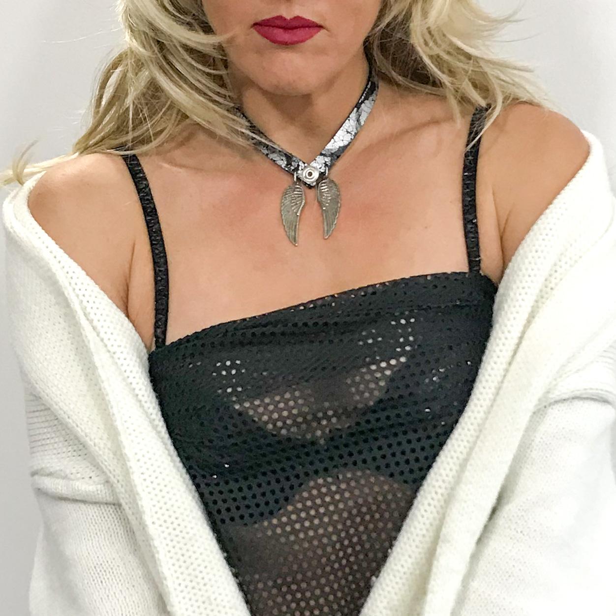 Angelwings blue double face necklace EvilEve