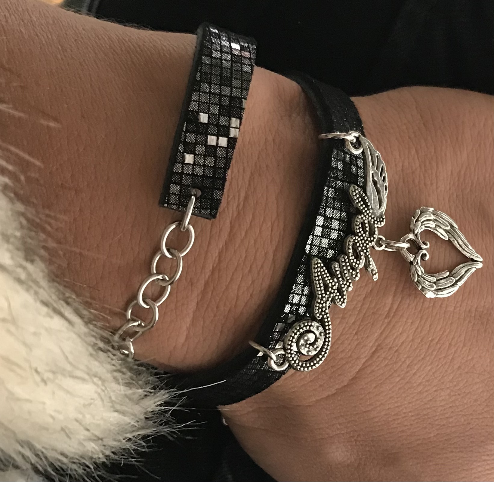 unique leather bracelet Angels EvilEve