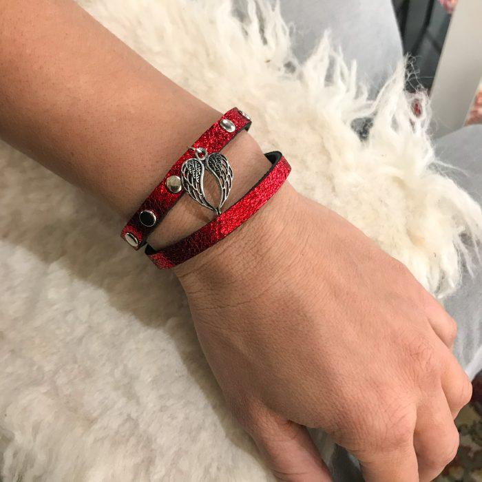 Lucky Angel red glitter bracelet EvilEve