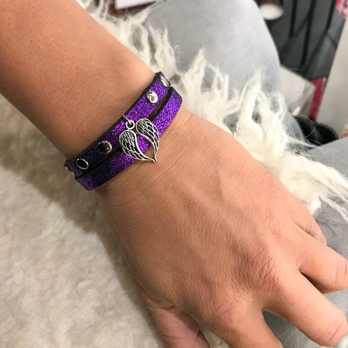 Lucky Angel purple glitter bracelet EvilEve