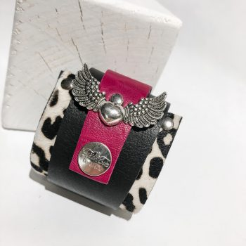 Pink Angelwings leather wrap around bracelet EvilEve