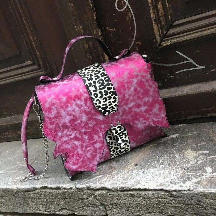 Unique leather Messenger Bag Sky Pink EvilEve