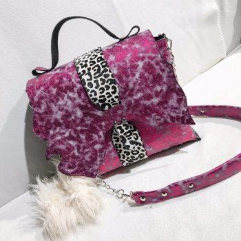 Unique leather Messenger Bag Sky Pink EvilEve
