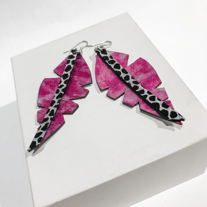 Big Leaf Hotpink earrings EvilEve