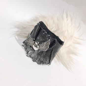 RockAngel Glittery Silver leather bracelet EvilEve
