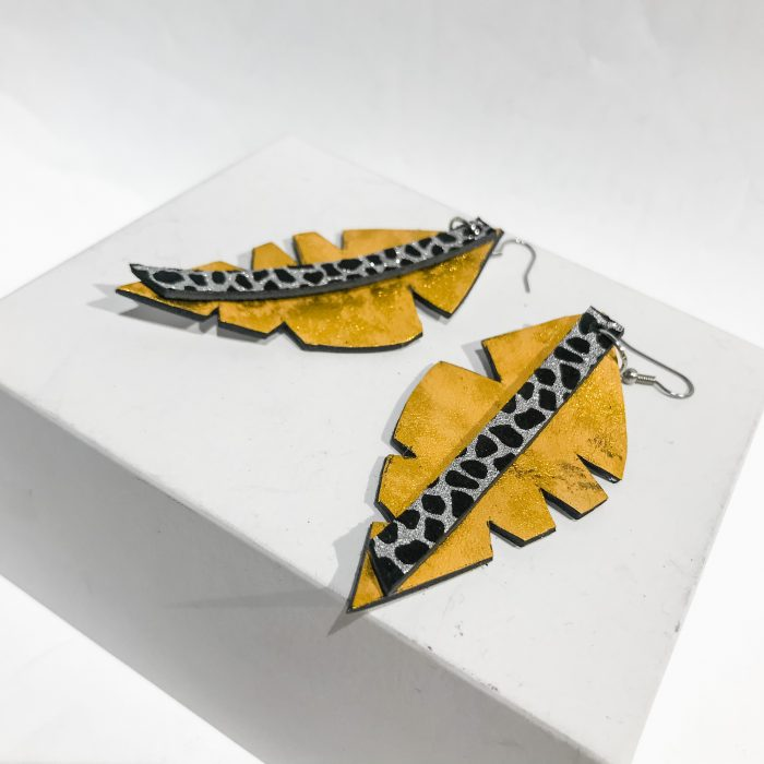 Big Leaf Yellow leather earrings EvilEve
