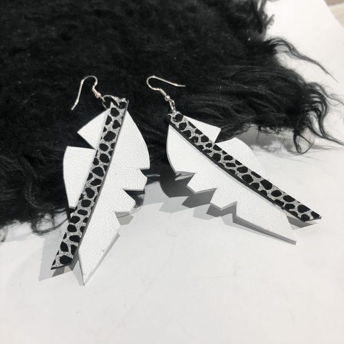 Big Leaf White leather earrings EvilEve