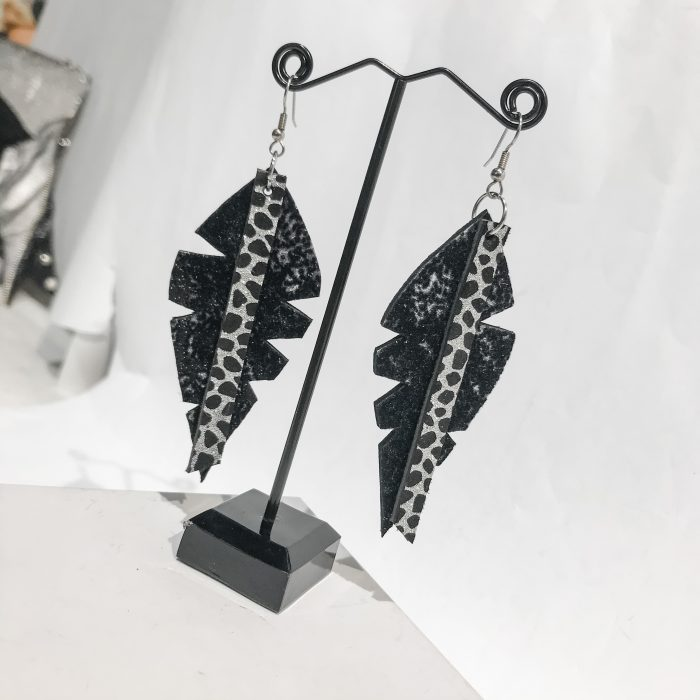 Big Leaf Black leather earrings EvilEve