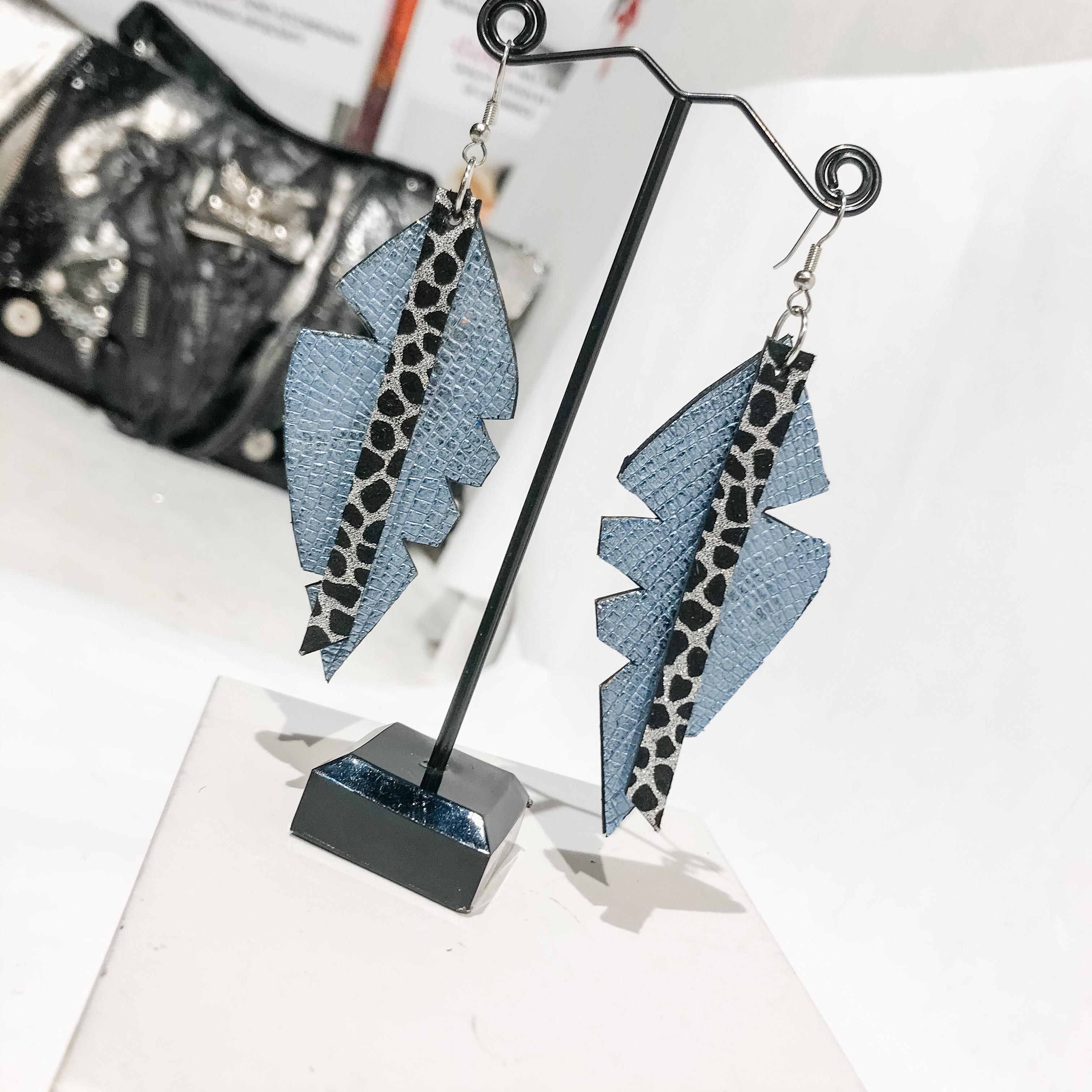 Big Leaf heavenly blue leather earrings EvilEve