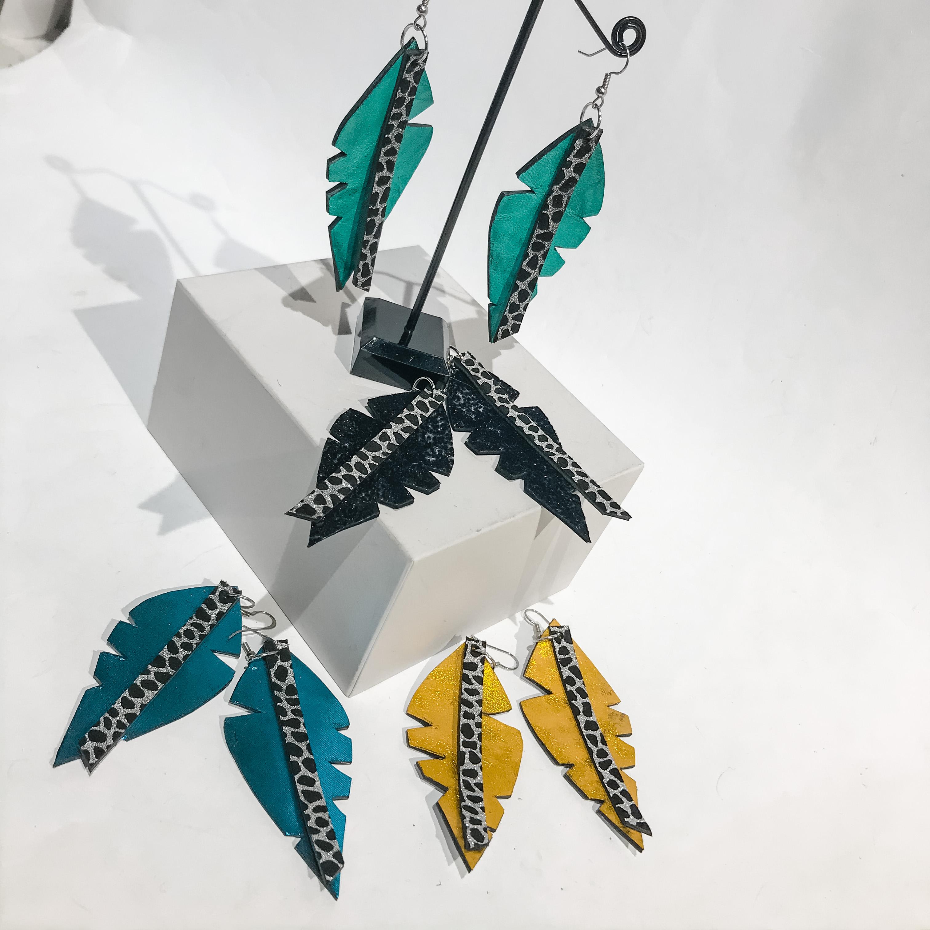 Big Leaf Caribbean leather earrings EvilEve