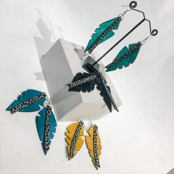 Big Leaf Azur leather earrings EvilEve
