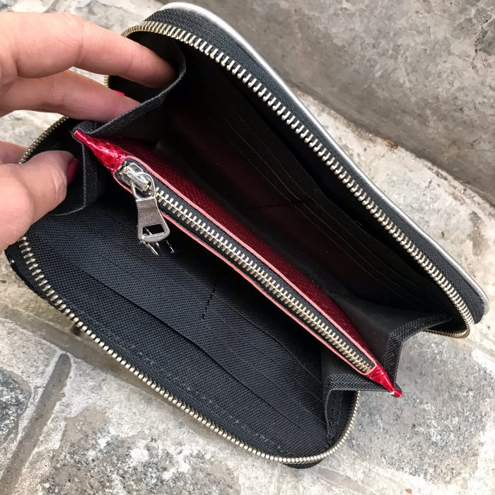 Black galaxy chic leather maxi wallet EvilEve