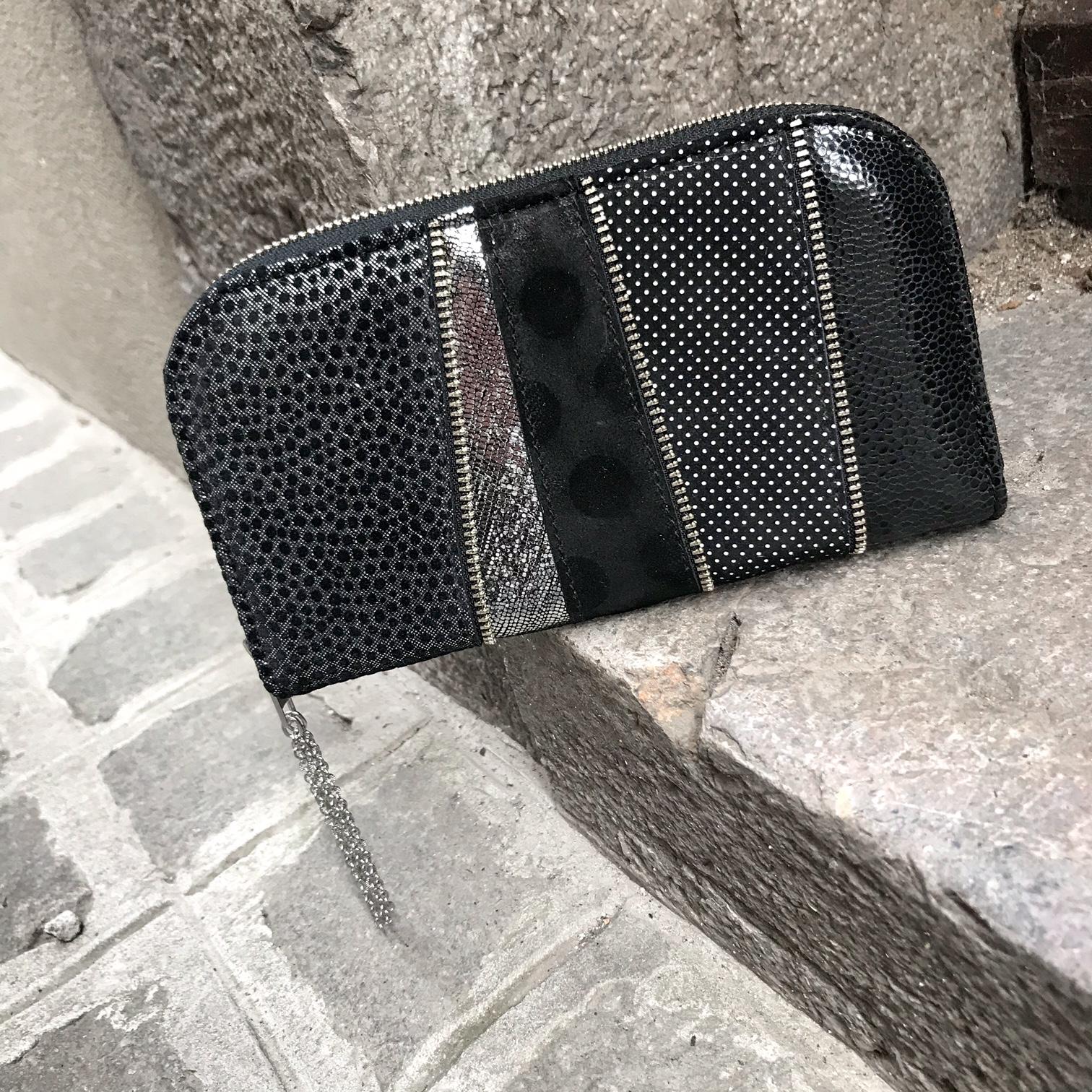 Black Dot chic leather maxi wallet EvilEve