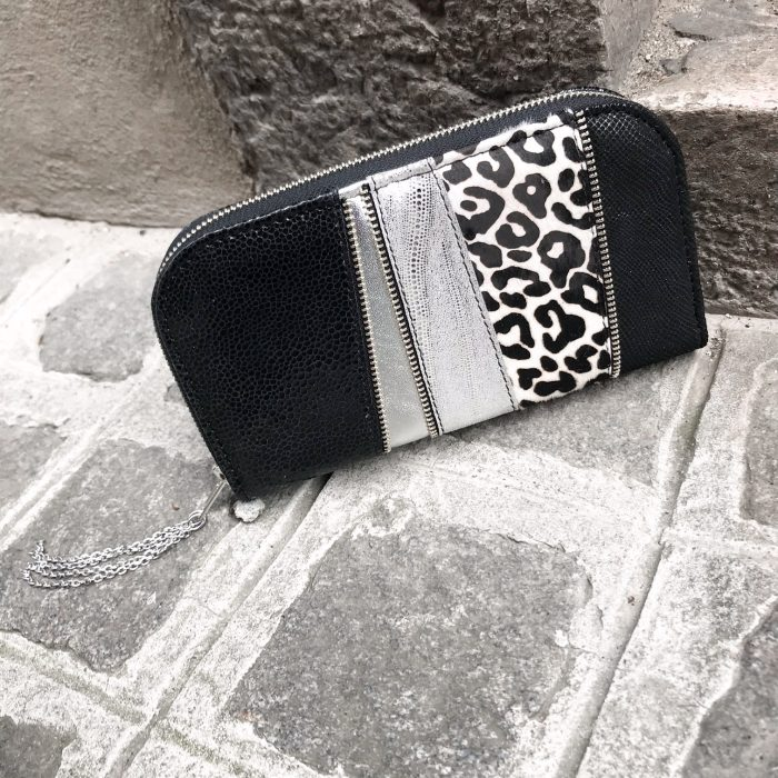Black and white chic leather maxi wallet EvilEve